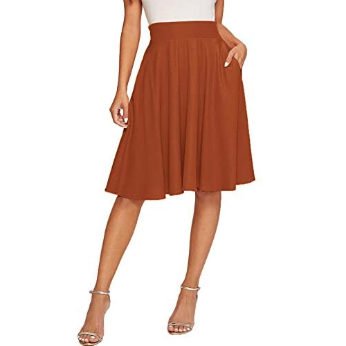 Floerns Womens Pleated High Waist Knee Length A Line Midi Skirt