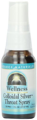 Source Naturals Wellness Colloidal Silver Throat Spray, 30 ppm, 1 Fluid Ounce