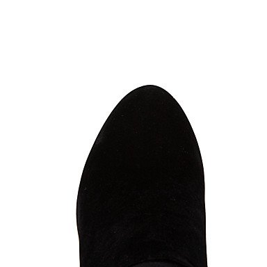 Botón Casual Cremallera Rojo Vestido Botas Negro Stiletto Invierno black 7'5 GLL Confort amp;xuezi Tacón Semicuero cms 9'5 Otoño Mujer qg60vHp