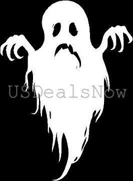 [ST#201] ZForce (2) Spooky Ghost Silhouette Halloween Vinyl Decal Car Window Stickers WHITE ()