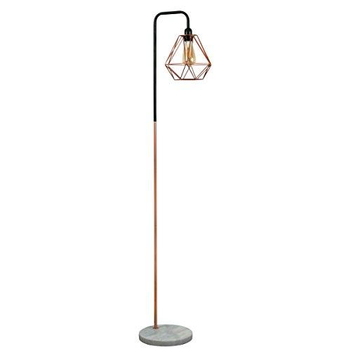 Retro Style Black/Copper Metal & White Marble Base Floor Lamp - Complete...
