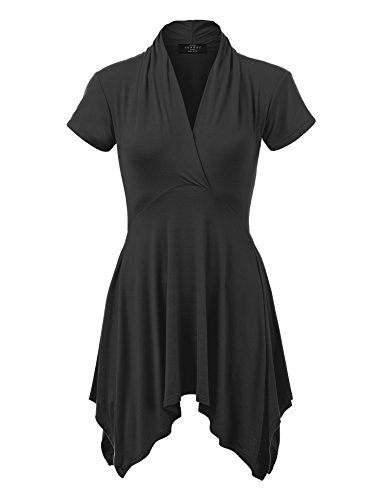 Made by Johnny MBJ WT1120 Womens Cross V Neck Short Sleeve Empire Line Panel Tunic Top S Black (Dress Empire Short Sleeve In Black)