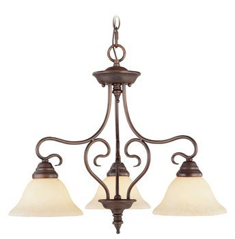 Livex Lighting 6133-58 Coronado 3 Light Imperial Bronze Hanging Lantern / Flush Mount Chandelier with Vintage Alabaster Glass