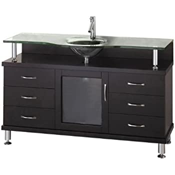 Virtu usa ms 55 g es vincente 55 inch single sink bathroom vanity with tempered glass countertop for 55 single sink bathroom vanity