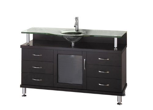 Virtu USA Vincente 55 inch Single Sink Bathroom Vanity Set in Espresso w/ Integrated Round Sink, Clear Tempered Glass Countertop, No Faucet, No Mirror - MS-55-G-ES