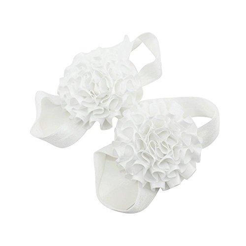 Band Girl Blumen Schuhe Baby Sandalen Barfuß weiß Sanwood p8qEW1x