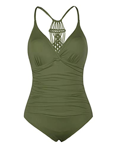 Hilor Women's Shirred Halter One Piece Swimsuits Macrame Back Swimwear Solid Bathing Suit Olive Me 12 ()