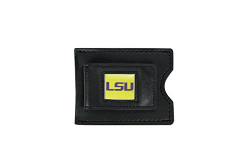 aminco NCAA LSU Tigers Men's Leather Money Clip and Card Case, 3.5 x 2.75, - Credit Card Ncaa Tigers