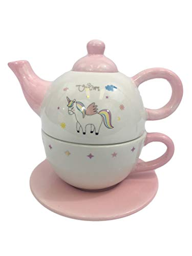 Unicorn Ceramic Tea For One Set with Teapot Cup & Saucer