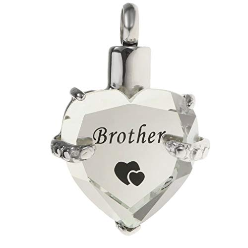 Clear Crystal Heart Urn Charm Pendant for Family Pets Memorial Ashes Holder Necklace Jewelry Crafting Key Chain Bracelet Pendants Accessories Best| Color - Brother