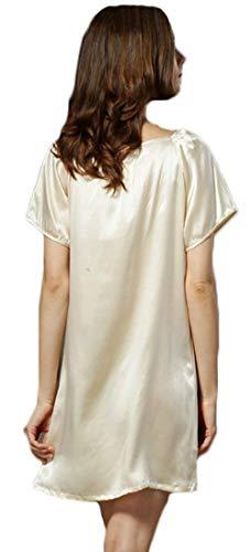 Camisones Suave Hogar Cómodo Joven Moda Sleepwear Color Manga Ropa Anchas Mujer Silk Pijama El Corta Verano Beige Vestido Elegantes Camisón Para Sólido v6qwYBnqZ
