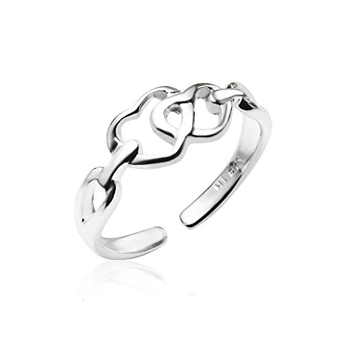 (Big Apple Hoops - Genuine 925 Sterling Silver ''Basic and Simple'' Open Knuckle/Toe Ring for Women | All Day Comfort with 14 Unique Styles)