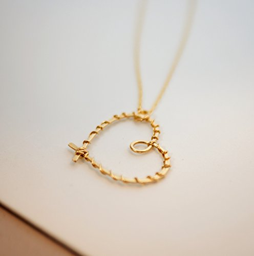 Wrapped Gold Filled Heart necklace, Romantic Anniversary gift, Dainty Handmade Artisan Jewelry