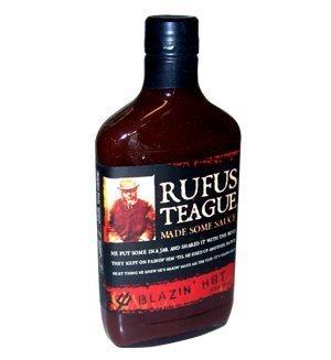 Rufus Teague Blazin' Hot BBQ Sauce ~ 16 OZ Glass Flask by Ru