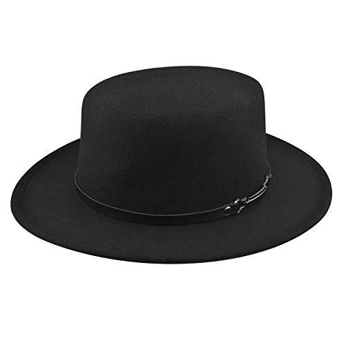 - Felt Fedora Hat for Women/Men, Wide Brim Belt Buckle Panama Hat Fashion Sun Hat (Black 2)