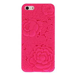 Mint Green Sweet Heart+Purple 3D Sculpture Rose Back Case for iPhone 5/5S(Assorted Color) --- COLOR:Pink