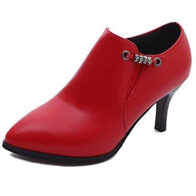 RTRY Zapatos De Mujer Otoño Pu Botas Botas De Combate Stiletto Talón Puntera Redonda Cremallera Para Casual Negro Rojo US5.5 / EU36 / UK3.5 / CN35