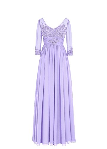Abendkleider Spitzen Lang of mit Fanciest Mother the rmeln Lavender Bride Damen Crystal 6AZtBnq8