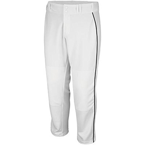 .Majestic Athletic Adult Cool Base Premier Relaxed Fit Pant (White w/Black Piping, Large)
