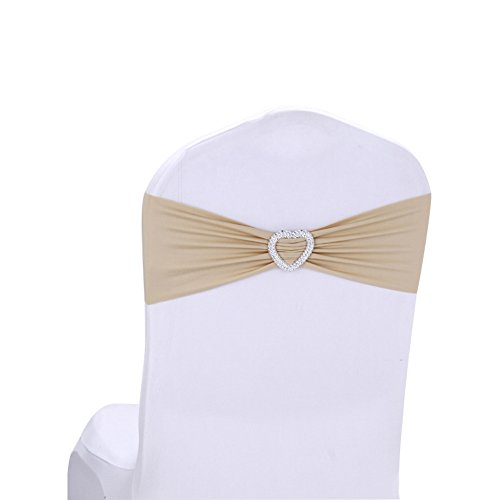 Thistle Champagne (Hemons 10pcs Stretch Elastic Heart-shaped Chair Cover Band Sashes with Buckle for Wedding Event Banquet Party Decor (Champagne))