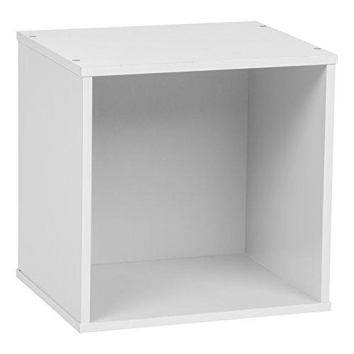 IRIS BAKU Modular Wood Cube Box, White Open Storage Space
