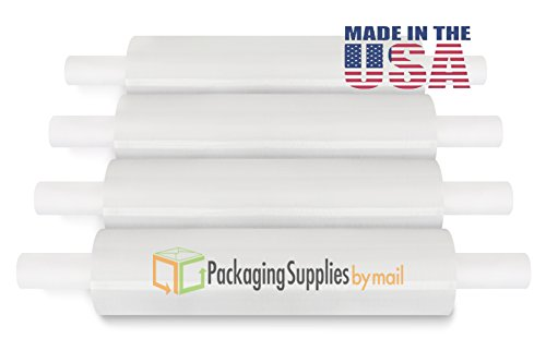 4 20'' 1000' HYRBID Stretch Wrap Extended Core Banding Film Pipe Wrap 4 ROL by PackagingSuppliesByMail