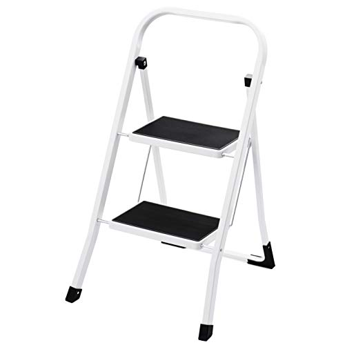 ACKO 2 Step Ladder Folding Step Stool Ladder with Handgrip Anti-Slip Sturdy and Wide Pedal Multi-Use for Household and Office Portable Step Stool Steel 330lbs (2 Feet)