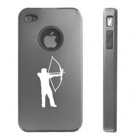 Apple iPhone 4 4S 4 Silver D3127 Aluminum & Silicone Case Cover Archery Bow and Arrow