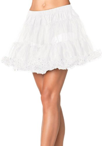 Leg Avenue Petticoat with Sequin Trim, White/Silver, One Size Sequin Petticoat