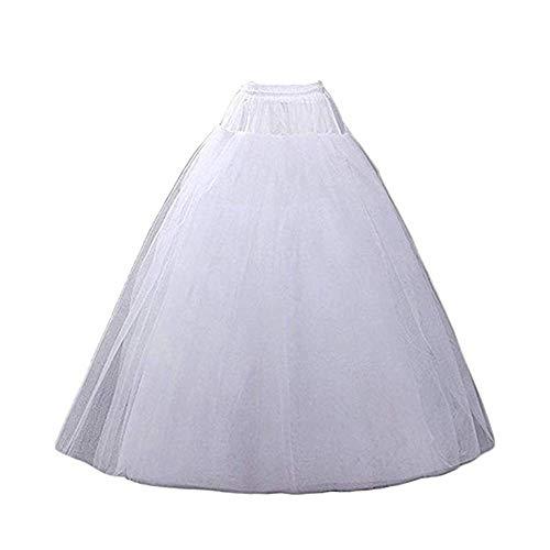 (Nanwuji A-line Hoopless Petticoat Crinoline Underskirt Slips Floor Length for Bridal Wedding Dress, White, One Size)