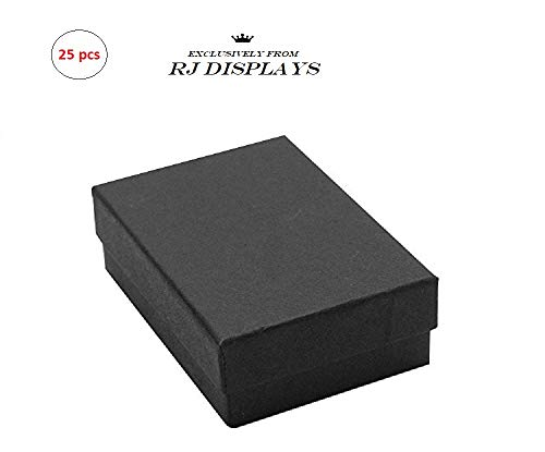 - 25 Pack Cotton Filled Black Matte Color Jewelry Gift and Retail Boxes Jewelry Pendant Earring Gift Collectible Packaging Boxes 2 1/8