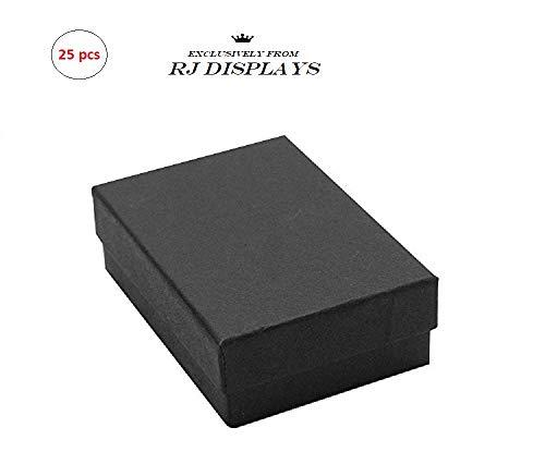 Paquete de 25 cajas de regalo de color negro mate de joyería color mate y cajas de venta al por menor, Pendiente colgante de...