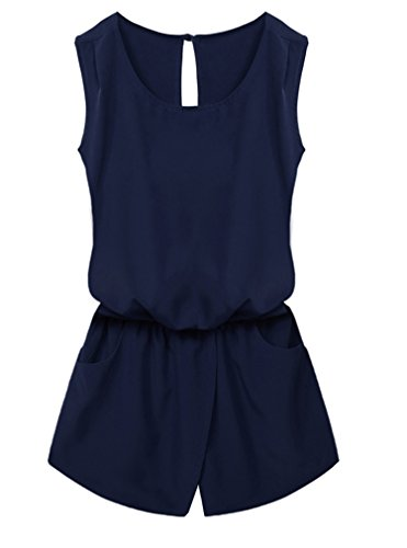 OURS Women Round Neck Sleeveless Cut Out Back Pockets Casual Romper Jumpsuit (XL, Navy Blue)