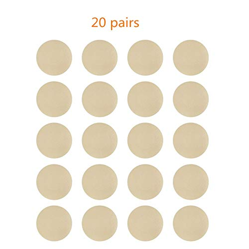 NippleCovers, Disposable Breast Pasties Adhesive Bra Petal Tops Nippleless Cover (Beige 20 Pairs Round) -