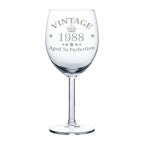 Wine Glass Goblet 30th Birthday Vintage Aged To Perfection 1988 (10 oz)