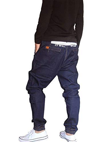 Vaqueros Dunkelblau Pantalones Estilo Hipster Moda Vaqueros Hip Pantalones De De Pantalones Streetwear De Rap Hop Ropa Mezclilla Harem Pantalones Casuales Hombres Los Pantalones Harén YqxgU5