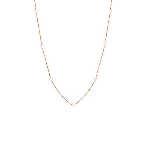 KINT Classic Mini Freshwater Pearl Pendant Necklace for Women 16.5'' Chain 18K