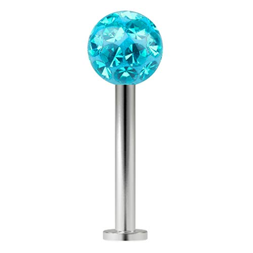 16g Ferido Tragus Crystal Gem Earrings Stud Jewelry 8mm 5/16 Surgical Stainless Steel Blue CZ Ring