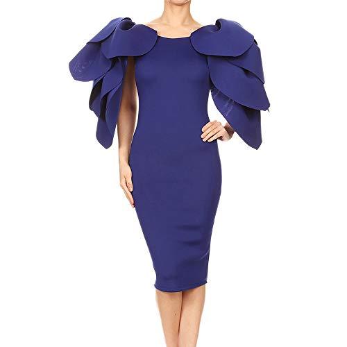 Women Lady Girls Plus Size Vintage O-Neck Flower Petal Sleeve Pencil Dress (2XL, Blue) ()