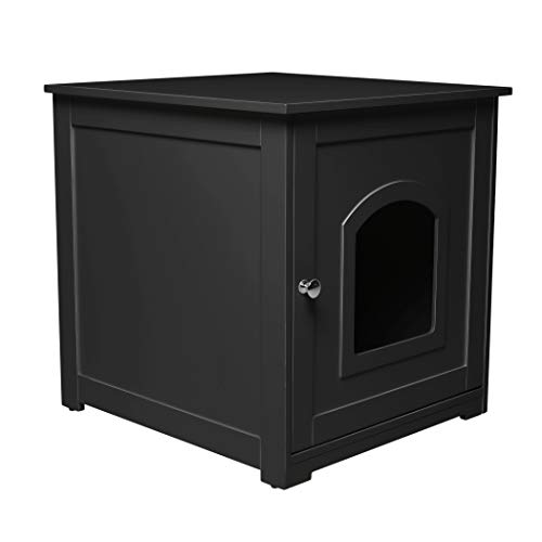 zoovilla Kitty Litter Loo - Hidden Litter Box Furniture, Black (Merry Products Dog Crate With Wooden Cover)