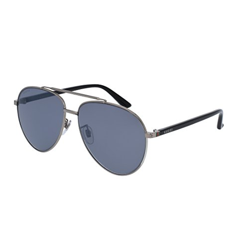 Gucci GG 0043SA 001 Asian Fit Silver Metal Aviator Sunglasses Blue Mirror - Asian Gucci Fit Sunglasses