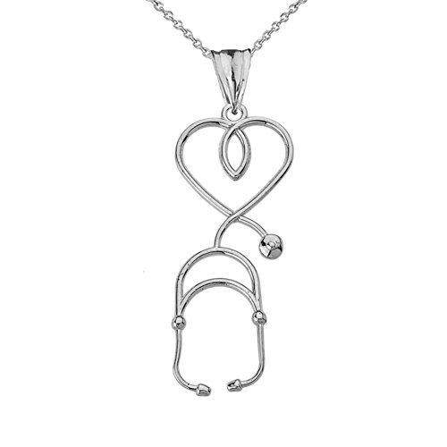 Fine Sterling Silver Heart-Shaped Stethoscope Pendant Necklace, 16