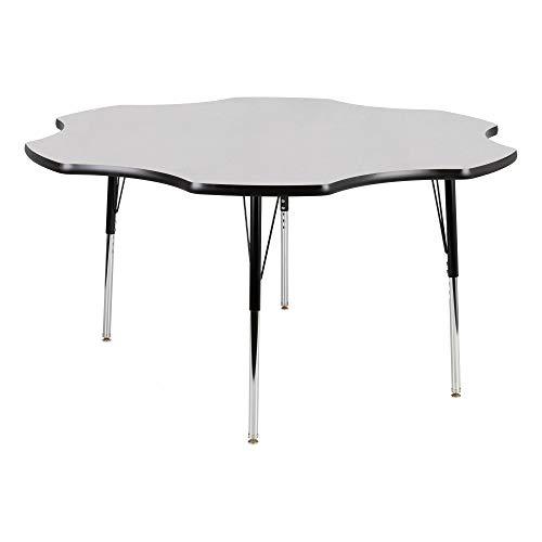 - Flower Adjustable Height School Classroom Activity Table - Gray Nebula Top/Black Edge