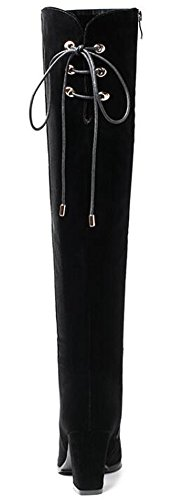 IDIFU Womens Trendy Mid Chunky Heels Faux Suede Side Full Zipper Knee High Riding Boots Black c1aAzXeI