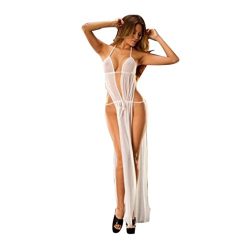 Challyhope Women Sexy Nightgown Transparent Sleepwear Lace Teddy Babydoll Long Dress (One Size, White)