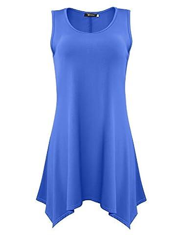 Women's Tunic Summer Solid Basic Flowy Tank Tops (X-Large, Blue) - Denim Pinstripe Cap