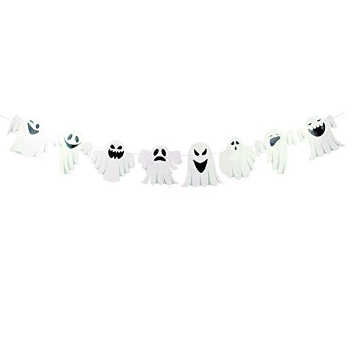 Bunting Banner Double Sided Ghost Flag Garland Vintage Banner for Halloween Party Decoration