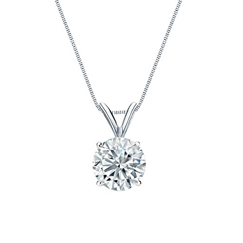 14k White Gold Round Solitaire Diamond Pendant Necklace 3 5cttw, H-I, I2-I3 4-Prong set with 18-inch chain by Diamond Wish