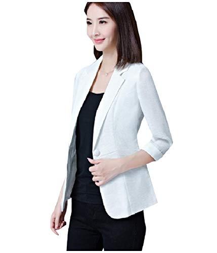 SportsX Women Formal Single Button Notch Collar Blazer Solid-Colored Suit White XL
