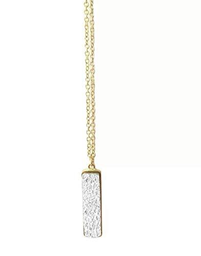 (Hello Love. Long druzy Style Pendant Necklace (Silver))